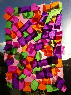 This is a great little craft activity for a young toddler. Tissue paper, clear contact paper. Fun, easy and always looks amazing. From A Blissful Life.