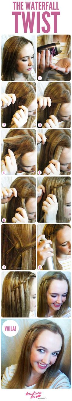 Waterfall twist. I could do this with my short hair to keep my bangs back:)