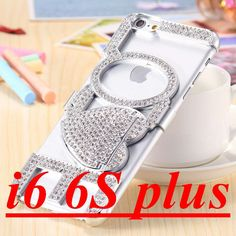 Beautiful Luxury Rhinestone Accented LOVE Heart Bling Stand Case for iPhone 6 6S w/Mobile Bag - 4 Colors