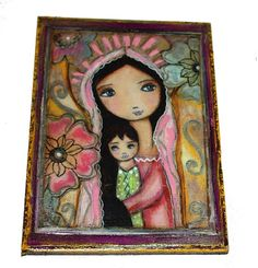 Young Madonna with Child and Flowers - Giclee print mounted on Wood - Made to Order - Folk art RETABLO by FLOR LARIOS