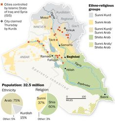 Ethno Religious map of Iraq (Source: The Institute for the Study of War, The Long War Journal, CIA World Factbook. GRAPHIC: Swati Sharma, Laris Karklis and Gene Thorp. City Layout, The Kurds, World Religions, Historical Maps, Cartography, Public School, Ramadan, Geography, Politics