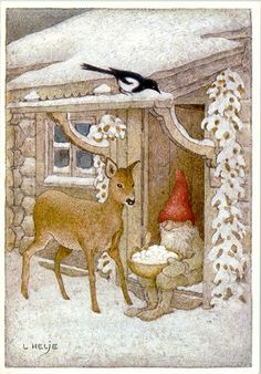 New Single Postcard by Lennart Helje Gnome Bird House Roe Deer Swedish Christmas, Christmas Gnome, Scandinavian Christmas, Christmas Art, Art And Illustration, Christmas Illustration, Elves And Fairies, Theme Noel, Vintage Christmas Cards