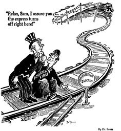 """Political cartoon on appeasement. The character in the cartoon looks really confident that the """"train"""", symbolizing the Nazis, won't hit them. But notice that the train is going at HIGH SPEED, and there is only a short distance left before the train is supposed to """"change tracks"""". Yet the cartoon character is still so confident the train won't hit them! What does this tell you about the western powers' attitude towards the Nazi threat before WWII? How did this attitude eventually lead to…"""