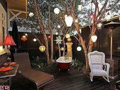 A garden shed deck.