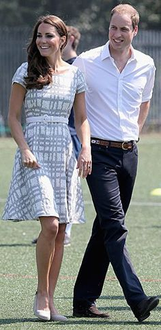 """I'm loving Kate Middleton $60 '50s-inspired, knee-length linen """"Check Wessex"""" dress, a departure from her designer threads but still ultra fashionable."""
