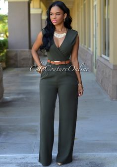 Chic Couture Online - Capri Olive Green Belted Jumpsuit, $50.00 (http://www.chiccoutureonline.com/capri-olive-green-belted-jumpsuit/)