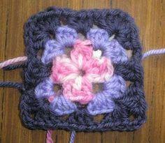 Mini crochet granny square - but black and white please