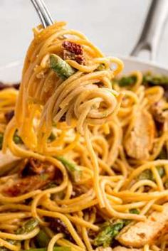 Asparagus lovers, prepare to freak out over this sundried tomato creamy pasta.Get the recipe from De... - Ethan Calabrese