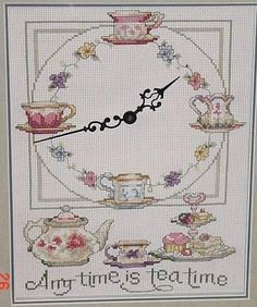 tea time 1 Beaded Cross Stitch, Cross Stitch Embroidery, Hand Embroidery, Cross Stitch Patterns, Cross Stitch Kitchen, Cross Stitching, Needlepoint, Tea Party, Sewing Crafts