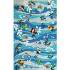 Your kids will surely love the vibrant colour theme and design of this #aquatic theme #rug.