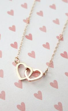 Rose Gold Double Heart Infinity necklace simple
