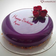 Annu Name Picture - Purple Marble Birthday Cake For Lover Food Cakes, Cupcake Cakes, Online Birthday Cake, Happy Birthday Cakes, Torte Rose, Beautiful Cakes, Amazing Cakes, Mirror Glaze Cake, Mirror Cakes