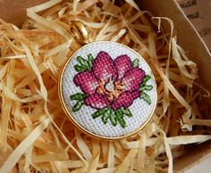 Crossstitch Pendant Rosehip handmade necklace by Microstitch