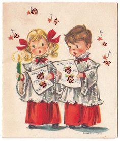 Vintage Greeting Card Christmas Children Choir Boy Girl Artist Elizabeth Voss