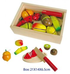 Fun Factory Kids Wooden Fruit Cutting Set in Box with Lid