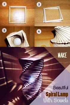 45 Easy and Creative DIY Popsicle Stick Crafts Ideas - Hercottage Spiral lamp step-by-step with dowels Top 7 crafts with Ice Cream Sticks - DIY Stuffs Diy Home Crafts, Diy Arts And Crafts, Crafts For Teens, Creative Crafts, Diy Crafts To Sell, Easy Crafts, Kids Crafts, Sell Diy, Diy Deco Rangement