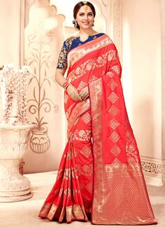Immaculate Weaving Work Traditional Designer Saree