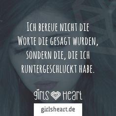 Mehr Sprüche auf: www.girlsheart.de #reue #streit #worte #beleidigung #enttäuschung #trauer #bereuen #schweigen