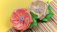 Цветок из ленты. Мастер-класс / Ribbon Flower Tutorial / ✿ NataliDoma
