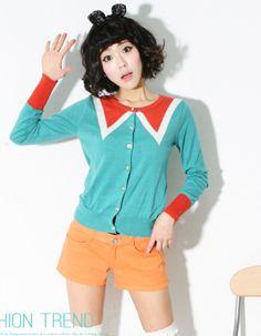 trompe l'oeil colour collar long cuff cardigan  CODE: MGN007  Price: SG $82.05(US $66.17)