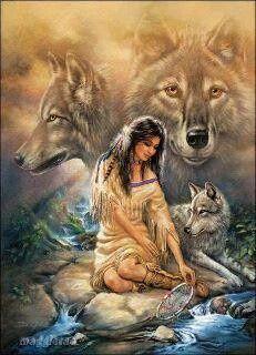 Native Indian and Wolf Cross Stitch Pattern Native American Wolf, Native American Paintings, Native American Pictures, Native American Beauty, American Indian Art, Native American History, American Indians, American Artists, American Women