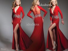 long sleeves red new fashion prom dresses  sexy  neck sheath side