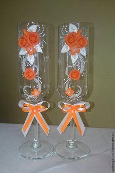 Купить свадебные бокалы - оранжевый, свадьба, свадебные аксессуары, бокалы для свадьбы, бокалы для молодоженов