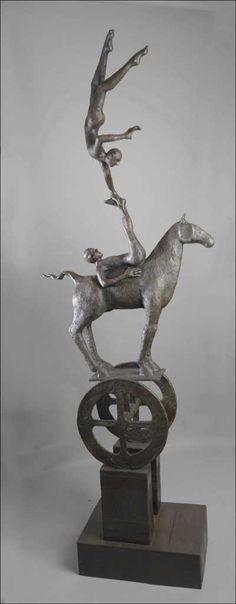 Bronze Circus/Stage Performer or statues #sculpture by #sculptor Thomas Ostenberg titled: 'Mind Over Matter (Bronze Performer and Horse Act statues)' #art