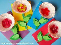 kwiatek z papilotek do mufinek na dzień babci, laurka dla babci Fathers Day Crafts, Valentine Day Crafts, Spring Crafts For Kids, Diy For Kids, Craft Activities, Preschool Crafts, Grandparents Day Activities, Diy And Crafts, Arts And Crafts