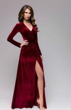 Beautiful Marsala Velvet Dress.Wrap Dress Burgundy Formal.Sexy Dress Occasion.Maxi Dress With Slit by FashionDress8 on Etsy https://www.etsy.com/listing/271215727/beautiful-marsala-velvet-dresswrap-dress