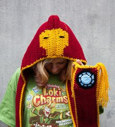 Crocheted Hooded Scarves With Thor, Iron Man And More. @Mindy Burton Solter will you make me a Captain America one?