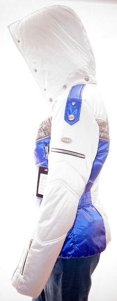 MDC DORIS PFISTER Womens White Blue Grey Hooded Belted Ski Jacket Coat 10