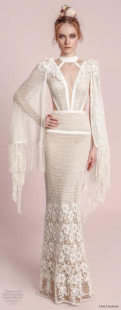 lior charchy spring 2017 bridal hanging sleeves deep plunging v neck keyhole full embellishment elegant sexy sheath fit and flare wedding dress (12) mv -- Lior Charchy Spring 2017 Wedding Dresses