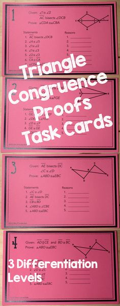Triangle Congruence Proofs Task Cards - I love using task cards to help high school students practice geometry proofs. I can do so many different activities with them and I can spend time helping struggling students. Teaching Geometry, Geometry Activities, Teaching Math, Teaching Tools, Math Teacher, Math Classroom, Classroom Ideas, Geometry Proofs, Geometry Triangles