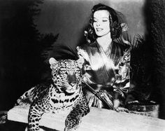 """Here, Kitty! Katharine Hepburn is Bringing Up Baby, 1938 (with pet leopard """"Baby"""")"""