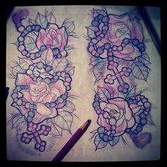 #tattoo #flash #roses #cross #sketch