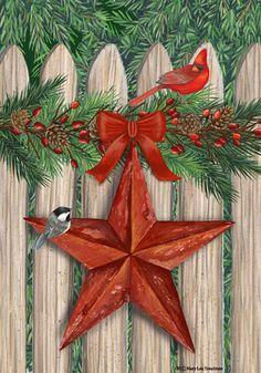 custom decor flag picket fence star decorative flag at garden house flags at gardenhouseflags - Decorative Christmas Flags