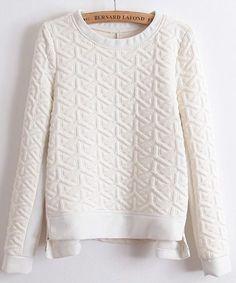 White Long Sleeve Embossed Zip Sweatshirt put this on my Christmas list please.