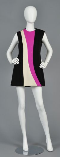 1960s Pierre Cardin 1960s Color Blocked Couture Tunic Dress