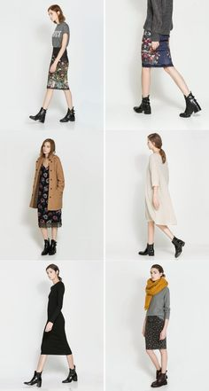 Zara Lookbook: Midi Skirts and Ankle Boots