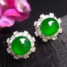 Fine jadeite and diamond earclips