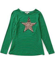 Copper Key Big Girls 716 Striped Sequin Star Top #Dillards