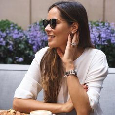 Style slam – Tennis ace Ana Ivanovic hits Chicago with sunglasses DESNA in Black/Glossy Gold from the MYKITA LITE collection. my-k.it/desnana