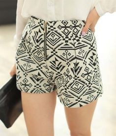 Zipper Ethnic Style Totem Pattern Cotton Blend Color Matching Shorts For Women