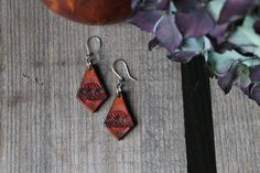 Red diamond shaped Leather earrings, small red earrings, Made in Ireland, Handmade, Sterling silver hooks, Unique, Perfect for her. Red Earrings, Leather Earrings, Stainless Steel Rings, Diamond Shapes, Hooks, Belts, Ireland, Sterling Silver, Unique