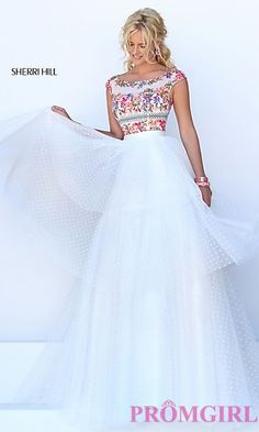 Ivory Sherri Hill Dress with Multi Color Floral Top