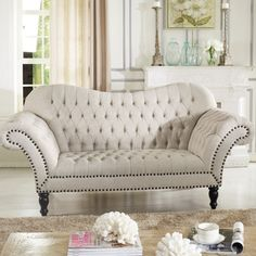 Baxton Studio Bostwick Beige Linen Classic Victorian Sofa | Overstock.com Shopping - The Best Deals on Sofas & Loveseats