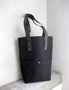 Black Tote Bag Canvas with Dark Brown Leather by avivaschwarz