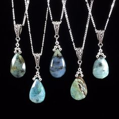 Peruvian Blue Opal Pendant Necklace.  Beautiful hand-cut and faceted Peruvian Blue Opal teardrops approximately 20x12mm and Silver chain 18