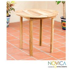 Novica Handcrafted Teakwood 'Mexican Sierra' Round Accent Table